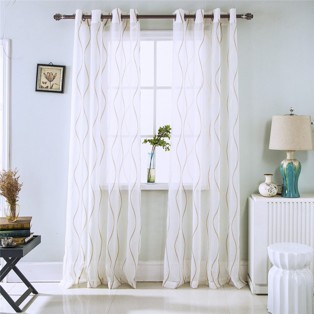 Amazon com spring curtains sheers shade noise waves hoop screens for bedrooms study childrens room livingroom coffee 2 panels 1 pair 521082 home