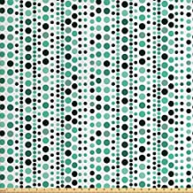 Modern Fabric by the Yard by Ambesonne, Retro 60s 70s Vintage Geometrical Circles Dots Points Ombre Image, Decorative Fabric for Upholstery and Home Accents, Teal Turquoise Hunter Green