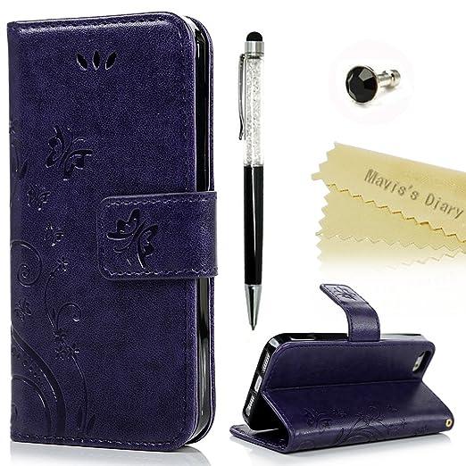 109 opinioni per Mavis's Diary iPhone SE / 5 / iPhone 5S Cover Pelle Viola, Retro Fiore Modello