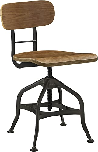 Modway Mark Rustic Modern Farmhouse Steel Metal Wood Adjustable Dining Chair