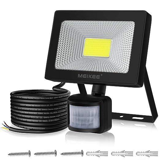 MEIKEE Foco LED Exterior con Sensor Movimiento 30W, Luz Led Alto Brillo 3000LM, Proyector Iluminación con Detector PIR, Lámpara Seguridad Impermeable ...