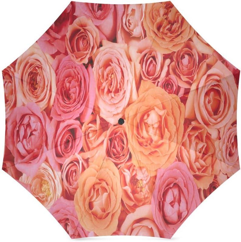 Custom Hot pink Rose Compact Travel Windproof Rainproof Foldable Umbrella