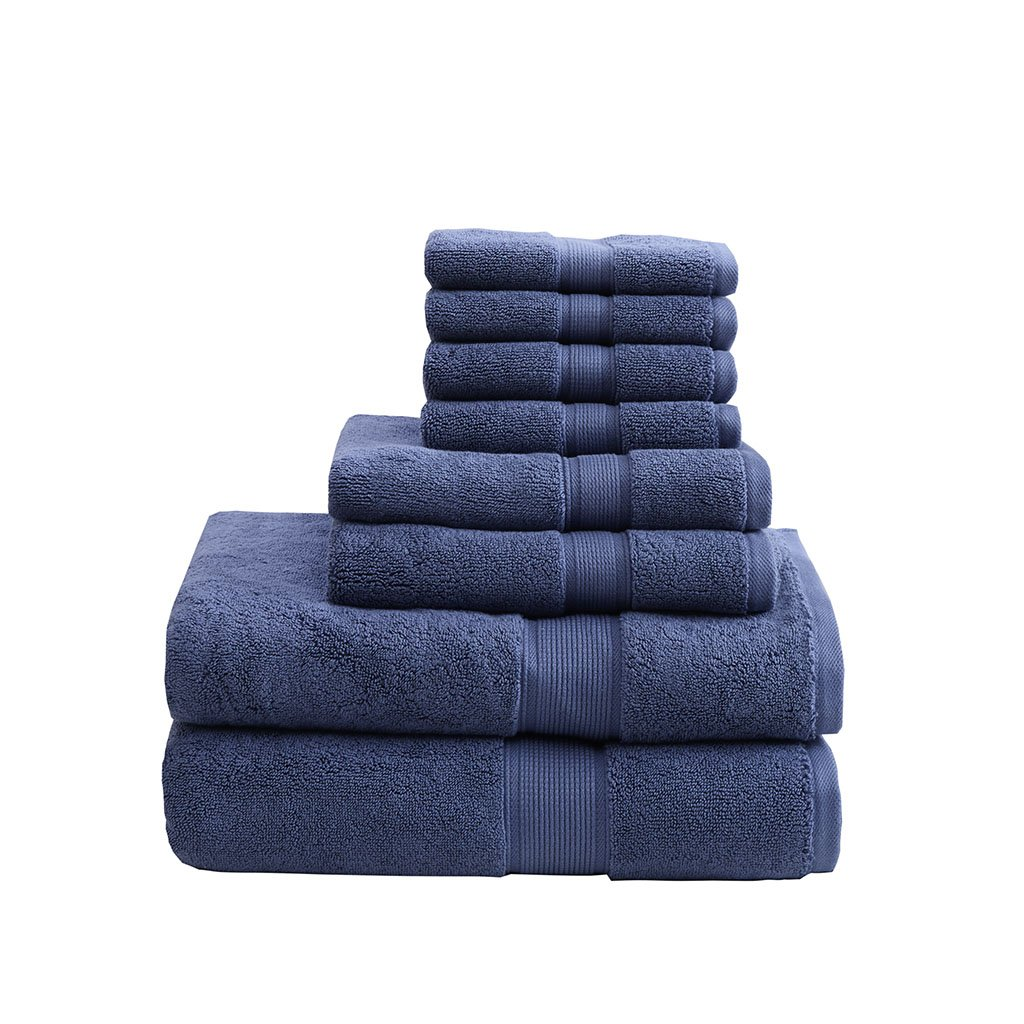 800GSM 100% Cotton Luxury Turkish Bathroom Towels , Highly Absorbent Long Oversized Linen Cotton Bath Towel Set , 8-Piece Include 2 Bath Towels, 2 Hand Towels & 4 Wash Towels , Navy by MADISON PARK SIGNATURE