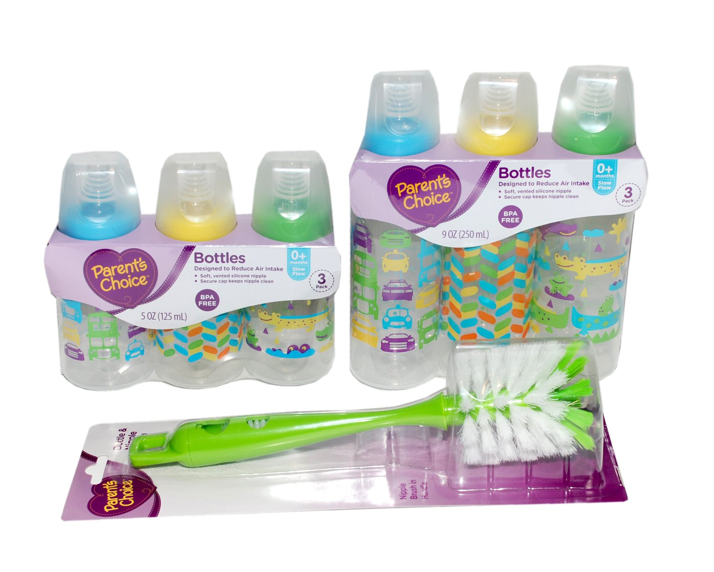 Baby Bottles and Bottle Cleaning Brush Bundle (Boy)