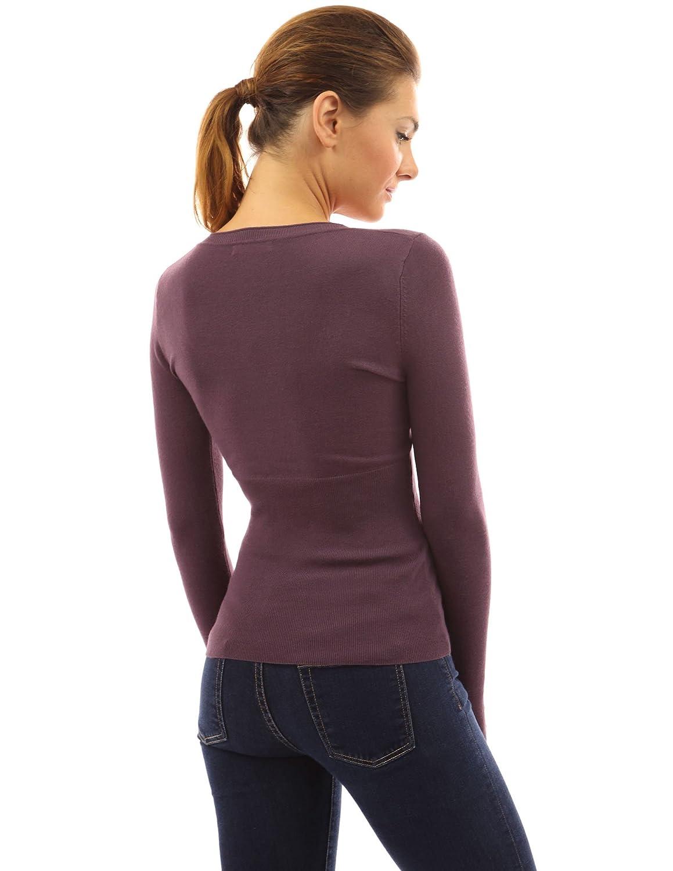 PattyBoutik Donne paletta collo maglione borchie pulsante