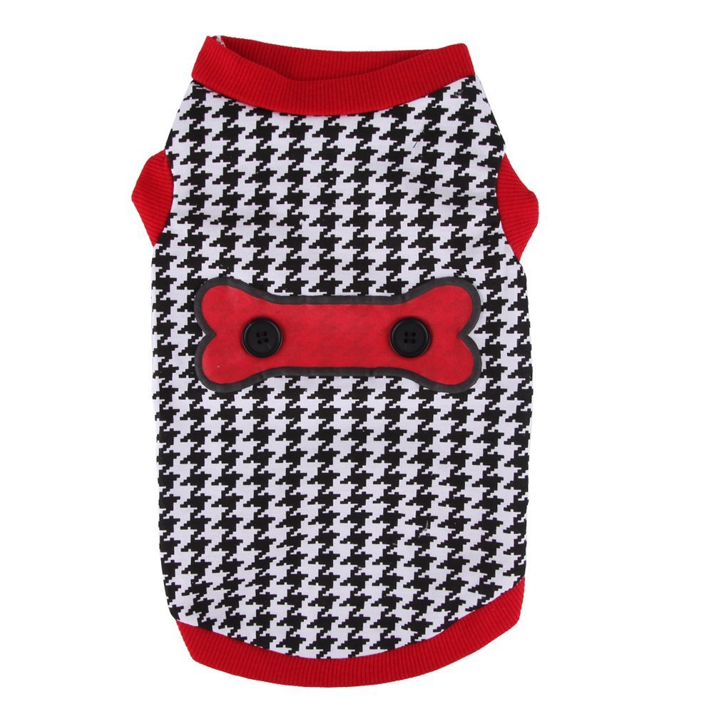 Large smalllee_lucky_store Houndstooth Shirt for Small Dogs, Large, Black