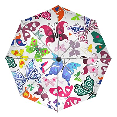 Vantaso Kids Auto Umbrella Windproof Colorful Lovely Red Heart Butterflies Blue Purple