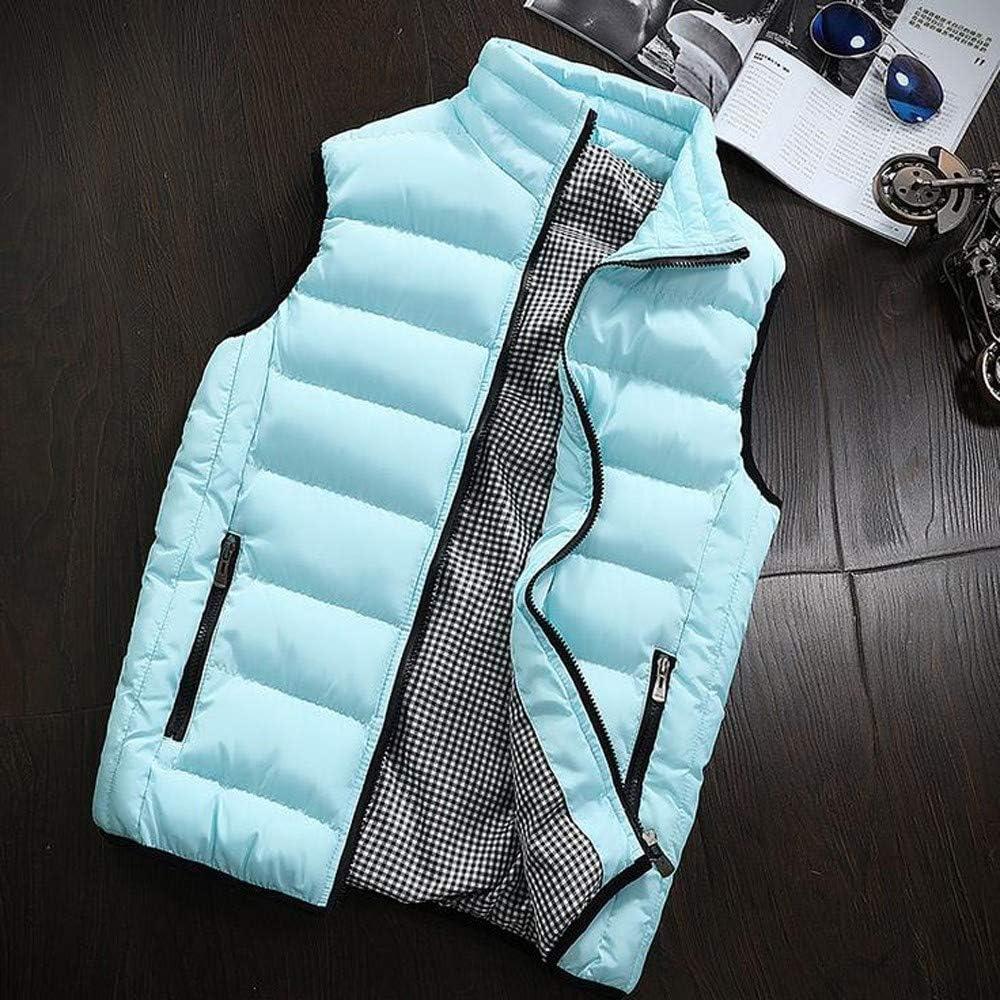 Jianekolaa Man Down Vest,Solid Color Packable Lightweight Thicken Warm Full Zipper Vest Coat Jacket with Pocket