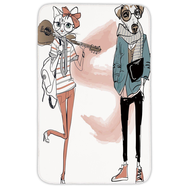 Rectangular Area Rug Mat Rug,Indie,Urban Cat Dog Characters Musician Guitarist Intellectual Boy Girl Decorative,Light Pink Black Slate Blue,Home Decor Mat with Non Slip Backing
