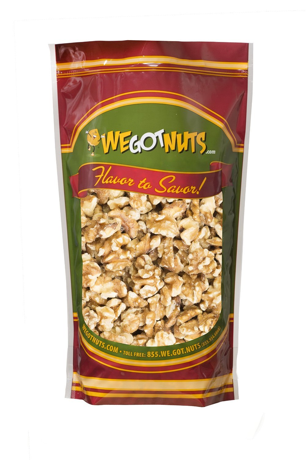 Walnuts, Raw Shelled, Halve and Pieces - We Got Nuts (1 LB.)