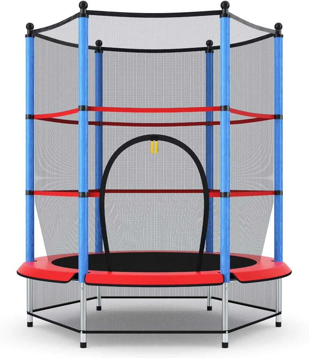 COSTWAY Cama Elástica Infantil Trampolín Jardín 140cm con Red de Seguridad Peso Carga Máximo 50 KG