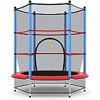 COSTWAY Ø140cm kindertrampoline, trampoline voor kinderen, tuintrampoline met veiligheidsnet, veiligheid pad, afgesloten…