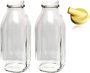 The Dairy Shoppe Heavy Glass Milk Bottles 33.8 Oz Jugs with Extra Lids & NEW Pour Spout! (2, 33.8 oz)