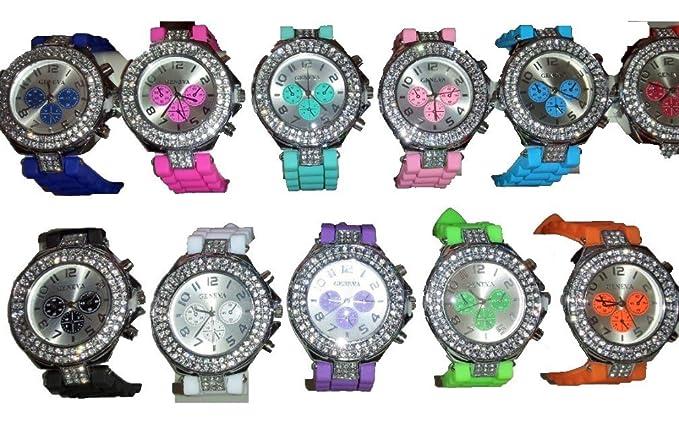 Lote de 26 pcs de goma silicona Gel Diamante Relojes Nueva venta al por mayor - Lot I: Amazon.es: Relojes