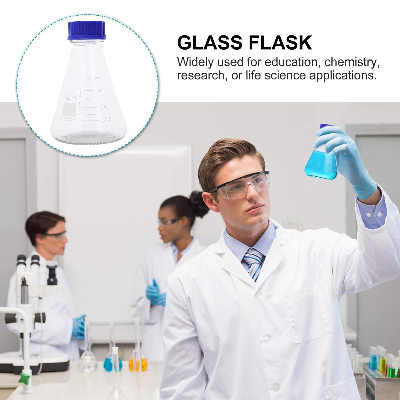 ULTECHNOVO 2 Pcs Erlenmeyer Flask Borosilicate Glass Bottle Conical Flask with PTFE Screw Cap Laboratory Tool 500ml