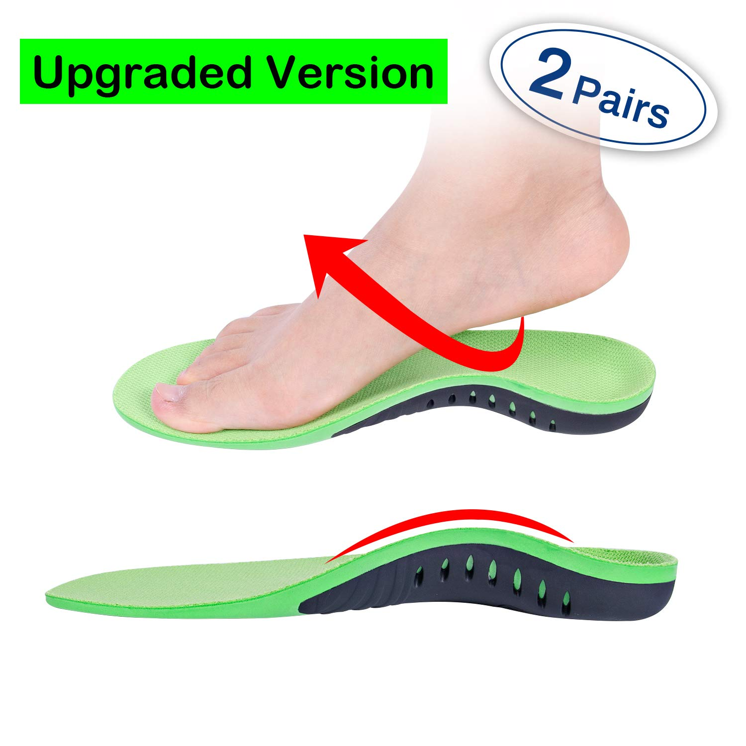 Orthotics Insoles Arch Support Inserts (2 Pairs) Comfort Sports Insoles Plus Support Anti-Fatigue Technology Replacement Insole Athletics Leisure and Work by Meidlan