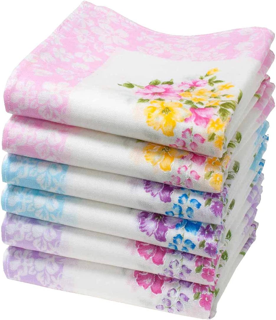 6 units 16 square /« Axelle /» handkerchiefs for ladies