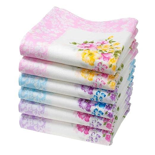 6 pañuelos para mujer - 100% algodón - Modelo