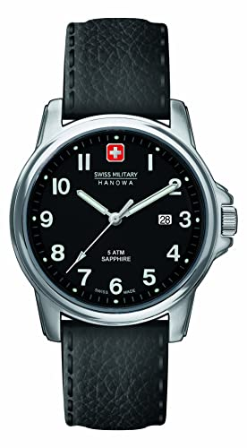 4fda4f6809 Swiss Military Men s Quartz Watch with Black Dial Analogue Display and  Black Leather Strap 6-