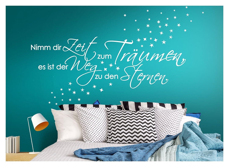 BxH 70 x 21 cm I Sterne Schlafzimmer Aufkleber selbstklebend Wandaufkleber Wandsticker Wandora G003 Spruch Nimm dir Zeit zum Tr/äumen I azurblau