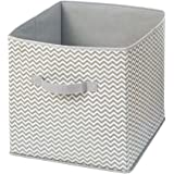 InterDesign Chevron Fabric Closet Organizer - Storage Cube for Toys, Clothes, Linen, Laundry or Accessories, Taupe/Natural