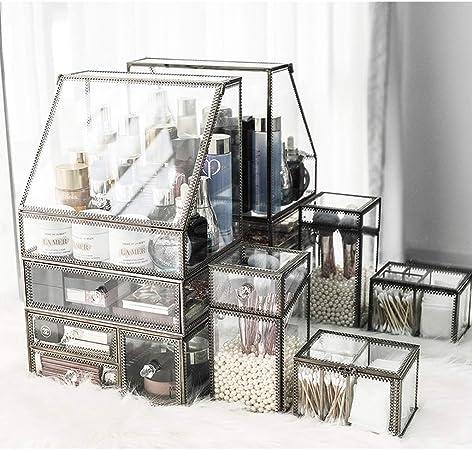 Organizador De Maquillaje Caja De Almacenamiento De Cosméticos Caja Organizador,Cajones De Almacenamiento De Cosméticos Y Caja De Exhibición De Joyas-Organizador De Vidrio Templado Metálico De Bronce: Amazon.es: Hogar