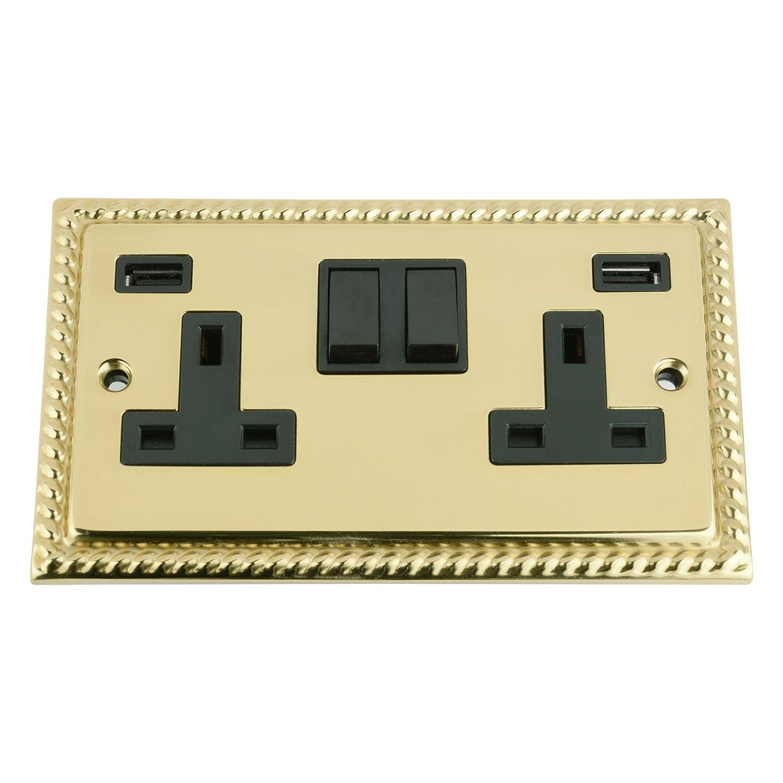 A5 Products USB Socket 2 Gang - Polished Brass Georgian Black Insert Plastic Rocker Switch (3100mA) A5 Products Ltd