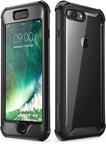 Amazon Com I Blason Case For Iphone 8 Plus Iphone 7 Plus Ares Full Body Rugged Clear Bumper Case With Built In Screen Protector Black