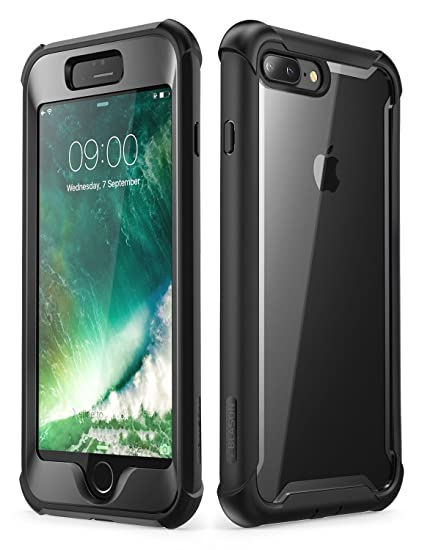 online store 69a47 8ff8c i-Blason Case for iPhone 8 Plus/iPhone 7 Plus, [Ares] Full-Body Rugged  Clear Bumper Case with Built-in Screen Protector (Black)