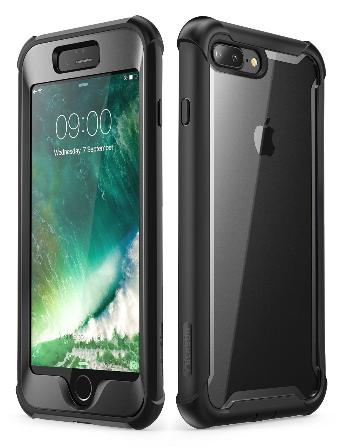 iPhone 8 Plus case, iPhone 7 Plus case, i-Blason [Ares] Full-Body Rugged Clear Bumper Case with Built-in Screen Protector for Apple iPhone 8 Plus/Apple iPhone 7 Plus (Black)