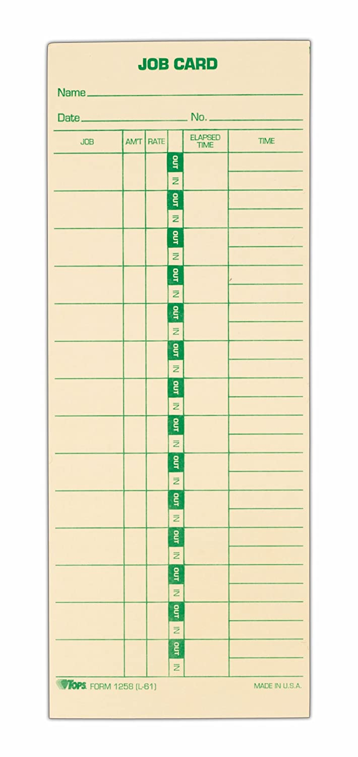 TOPS(R) Time Cards (Replaces Original Card L61), Job Card Form, 1-Sided, 9in. x 3 1/2in., Box Of 500 TOPS Business Forms Inc. 1258