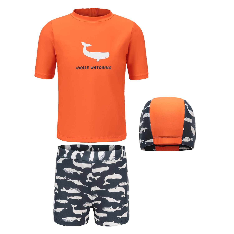 Big Boys Rash Guard Set Short Sleeve Swim Shirt Swimwear Set for Boys 8T