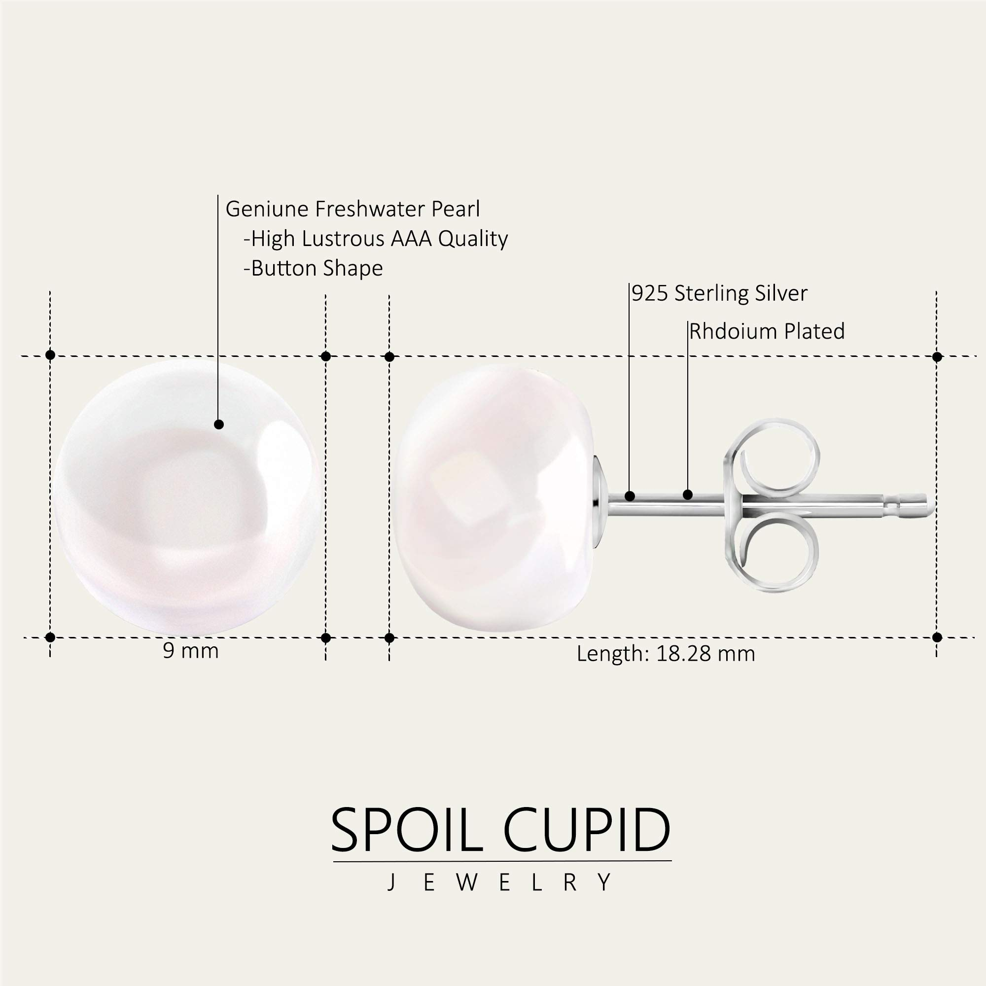 Spoil Cupid White Button Freshwater Cultured Pearl Stud Earrings with Sterling Silver, (9-9.5mm)