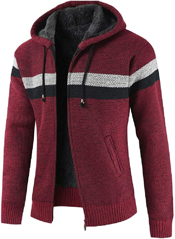 Longra Herren Strickjacke Zip-Jacke mit Kapuzen aus hochwertiger Materialqualit/ät Grobstrickjacke Mens Knit Jacket mit Fleece-Futter Winterjacke Strickjacke Cardigan Hoodie Kapuzenjacke