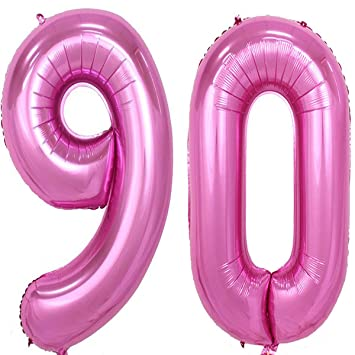40inch Pink Foil 90 Helium Jumbo Digital Number Balloons 90th Birthday Decoration For Women Or
