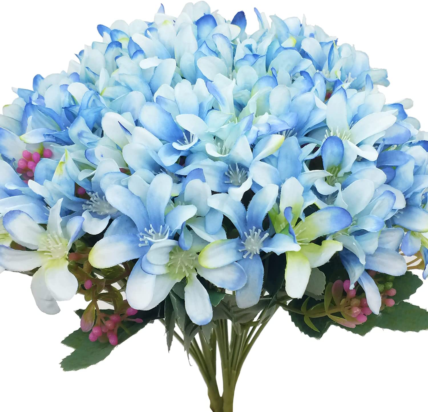 CORVYUC 6 Bundles Artificial Daffodil Silk Flowers Indoor Outdoor Faux Fake Flowers for Home Kitchen Office Garden Porch Window Table Vase Wedding Bouquet Decor (Blue)
