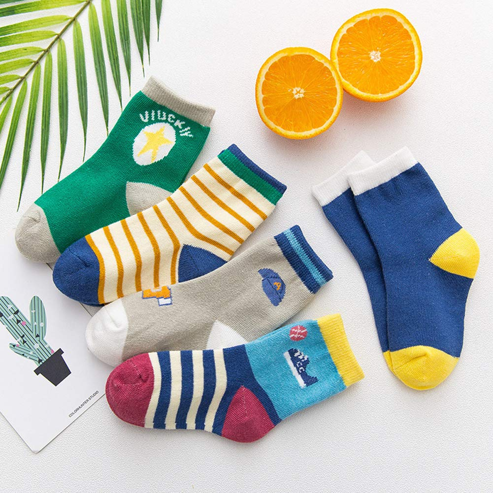 Best Gift for Sports Style Lovers 5 Packs Little Girls Boys Fashion Cotton Crew Seamless Sports Style Socks