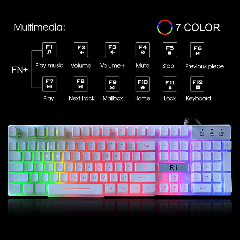 Rii RK100+ White Gaming Keyboard,USB Wired Multiple Colors Rainbow LED Backlit Large Size Mechanical Feeling Ultra-Slim Multimedia Office Keyboard Non-Slip