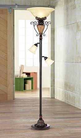 Traditional Torchiere Floor Lamp Tree Bronze Adjustable Alabaster