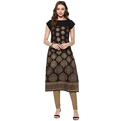 53f6891d6a1 Ives Black   Golden Cotton Printed Kurti For Women  Amazon.in ...