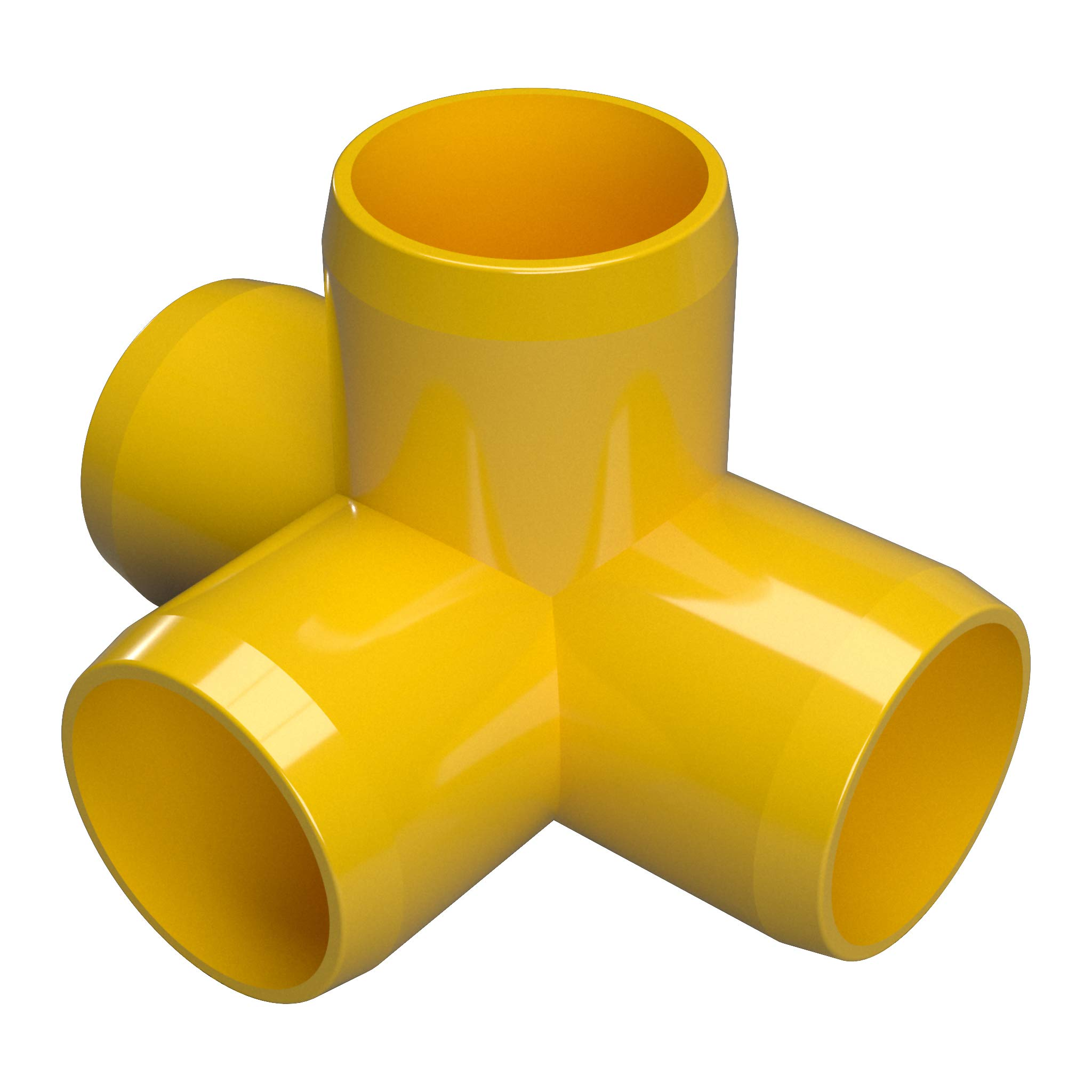 FORMUFIT F0014WT-YE-4 4-Way Tee PVC Fitting, Furniture Grade, 1'' Size, Yellow (Pack of 4)