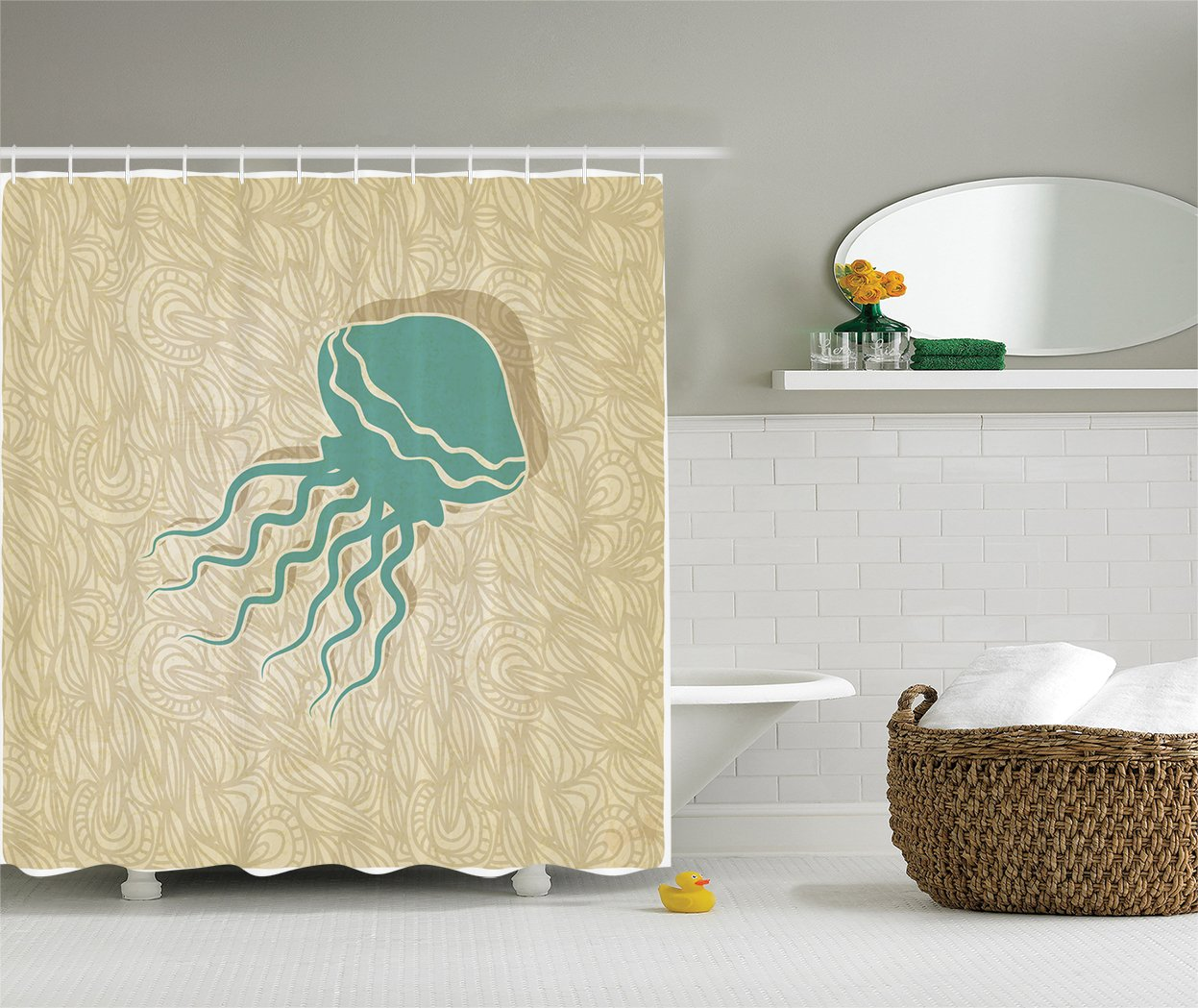 Amazon.com: Mermaid Shower Curtain Decorations by Ambesonne ...