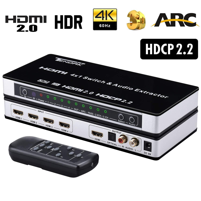 Interruptor 4 en 1 con Extractor de Audio L//R y Visual con Mando a Distancia 4 Puertos Conmutador HDMI 2.0 HDCP 2.2 ARC 3D Tendak HDMI HDMI Compatible con UHD 4K@60Hz Distribuidor 4K