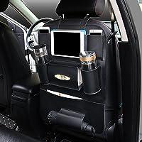 Organizador para asiento trasero de coche, de cuero sintético con bolsa de soporte para iPad Mini, almacenamiento de asiento trasero universal para teléfonos celulares, botellas, libros, caja de pañuelos, juguetes de los niños, paraguas, Negro