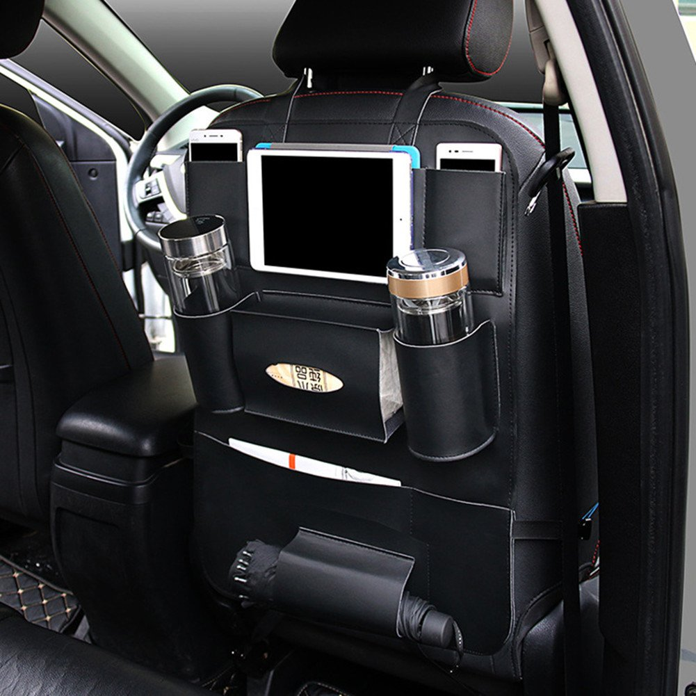 PU Leather Car Seat Back Organizer with Holder Bag for iPad Mini, Universal Backseat Storage for Cellphones, Bottles, Books, Tissue Box, Kids' Toys, Umbrella SULOUS