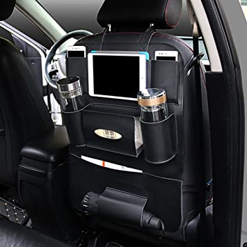 Palmoo Pu Leather Car Seat Back Anizer And Ipad Mini Holder Universal Use As Backseat For Kids Storage Bottles Tissue Box Toys 1 Pack