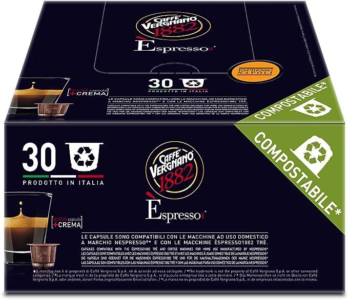 Caffè Vergnano 1882 Èspresso Capsule Caffè Compatibili Nespresso, Napoli - 8 confezioni da 30 capsule (totale 240)