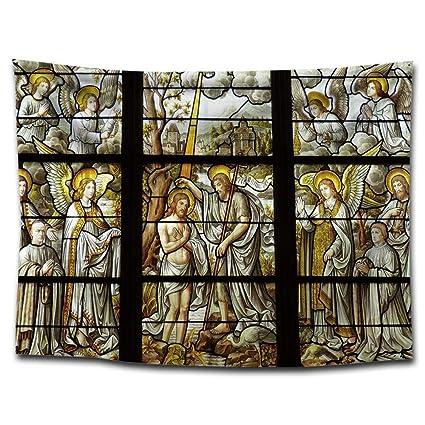Axiba Tapices, Tapiz de impresión de la Imagen de Iglesia Ventana Colgando Tapiz de Tela