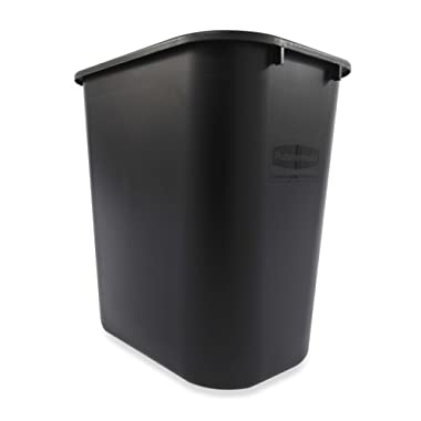 Rubbermaid 2956 BLA 28-1/8 qt Capacity, 14-3/8  Length x 10-1/4  Width x 15  Height, Black Color, Linear Low-Density Polyethylene Deskside Medium Wastebasket (12 per Carton)