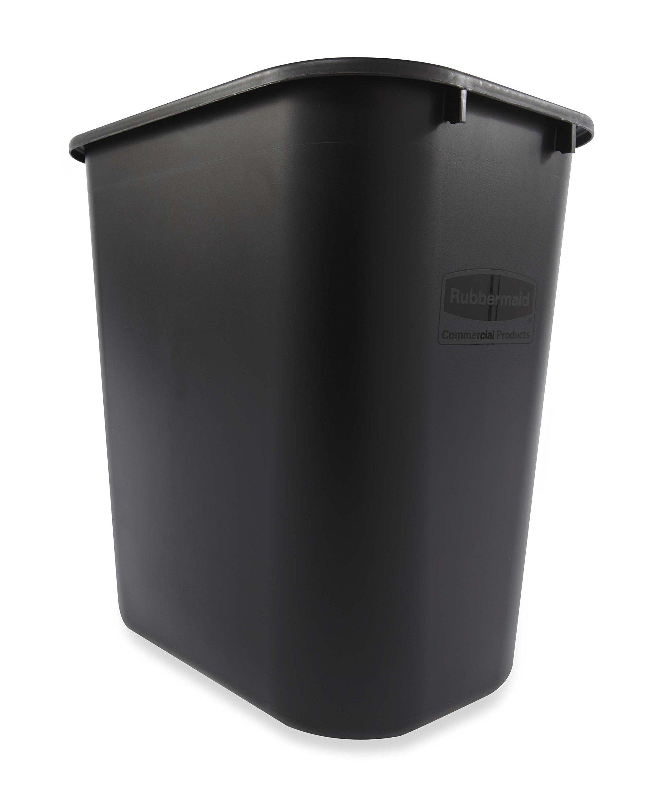 Rubbermaid Commercial 295600BK Deskside Plastic Wastebasket, Rectangular, 7 gal, Black